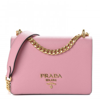 PRADA Saffiano Soft Calfskin Chain Crossbody Bag Petalo