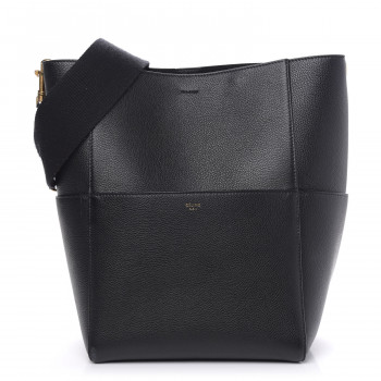 CELINE Soft Grained Calfskin Sangle Seau Black