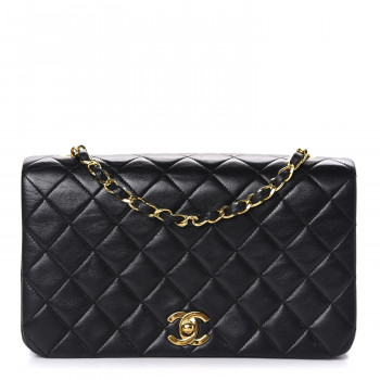 CHANEL Lambskin Quilted Small Single Flap Bag Black