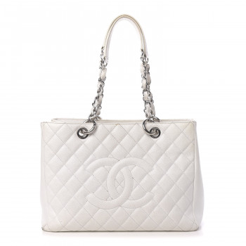 CHANEL Caviar Quilted Grand Shopping Tote GST White