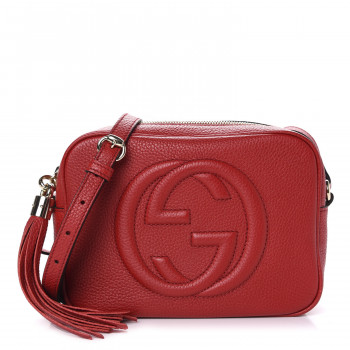 GUCCI Pebbled Calfskin Small Soho Disco Bag Tabasco Red