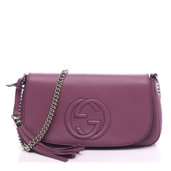GUCCI Pebbled Calfskin Medium Soho Chain Shoulder Bag Peonia Flower
