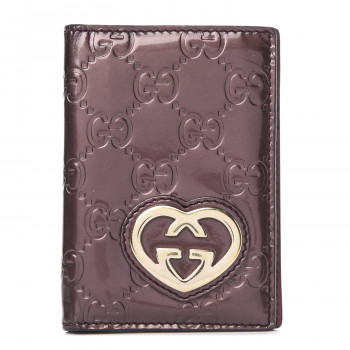 GUCCI Patent Guccissima Lovely Heart Mini ID Wallet Bordeaux