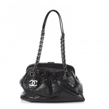CHANEL Distressed Lambskin Paris NY Framed Pleated Pouch Bag Black