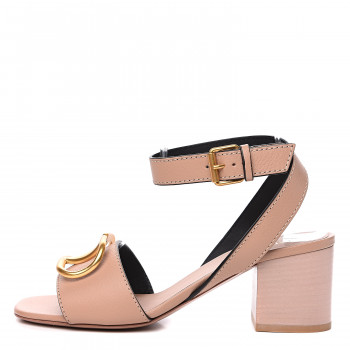 VALENTINO Grained Calfskin VLogo Sandals 36.5 Rose