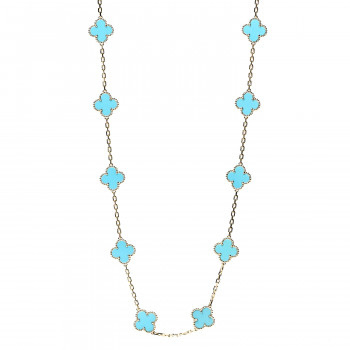 VAN CLEEF & ARPELS 18K Yellow Gold Turquoise 20 Motifs Vintage Alhambra Necklace
