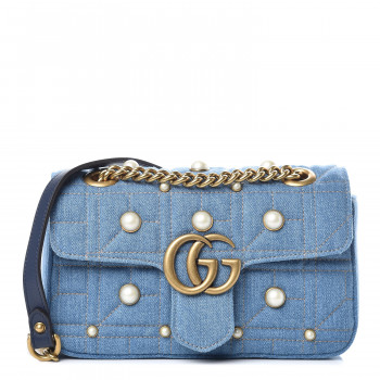 ae0ef7bd9180 GUCCI Denim Matelasse Pearl Studded Mini GG Marmont Chain Shoulder Bag Blue