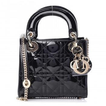 6354af93a2a Patent Cannage Quilted Mini Lady Dior Black