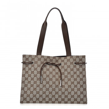 GUCCI Monogram Drawstring Bag Brown