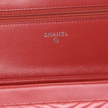 3d474f37b48b CHANEL Caviar Chevron Quilted Wallet On Chain WOC Red. Empty. Pinch/Zoom. ‹  › ‹ ›