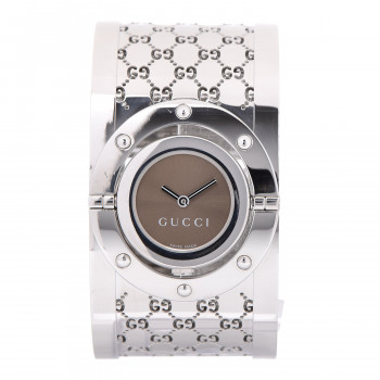 137146e3c4b GUCCI Stainless Steel 33mm Twirl Quartz Watch Brown
