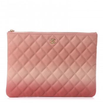 CHANEL Caviar Ombre Medium Cosmetic Case Coral