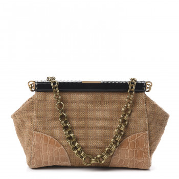 PRADA Semitracolla Straw Crocodile Frame Bag Tabacco Natural