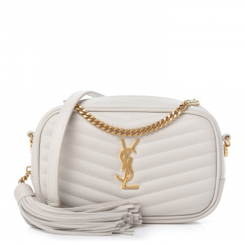 SAINT LAURENT Grain De Poudre Matelasse Monogram Mini Lou Camera Bag Crema Soft
