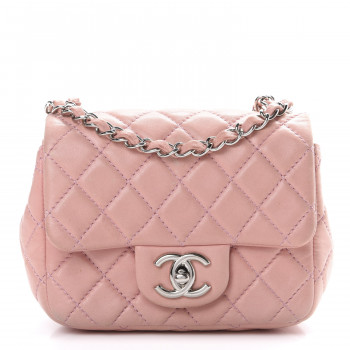 CHANEL Lambskin Quilted Mini Square Flap Pink
