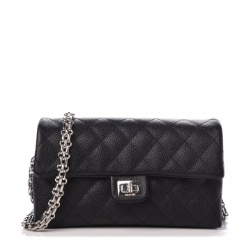 f028768e8b40 CHANEL Grained Calfskin Quilted 2.55 Reissue Chain Belt Bag Clutch Black
