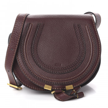 CHLOE Calfskin Mini Marcie Round Crossbody Bag Dark Velvet