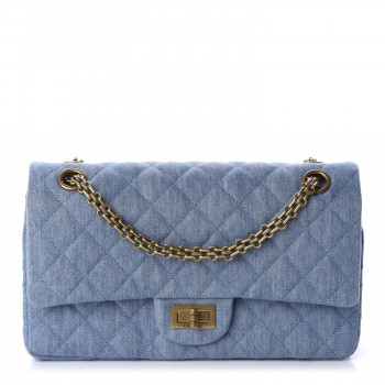 CHANEL Denim Quilted 2.55 Reissue 225 Flap Light Blue