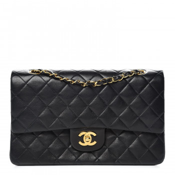 CHANEL Lambskin Quilted Medium Double Flap Black