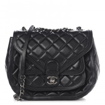 CHANEL Lambskin Quilted Messenger Flap Black