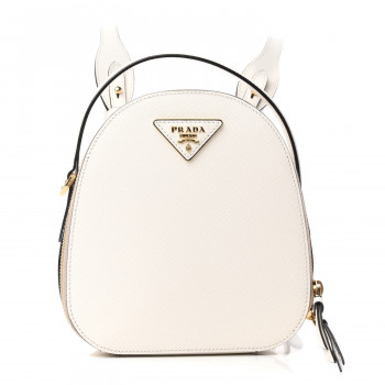 PRADA Saffiano Lux Mini Odette Backpack Bianco